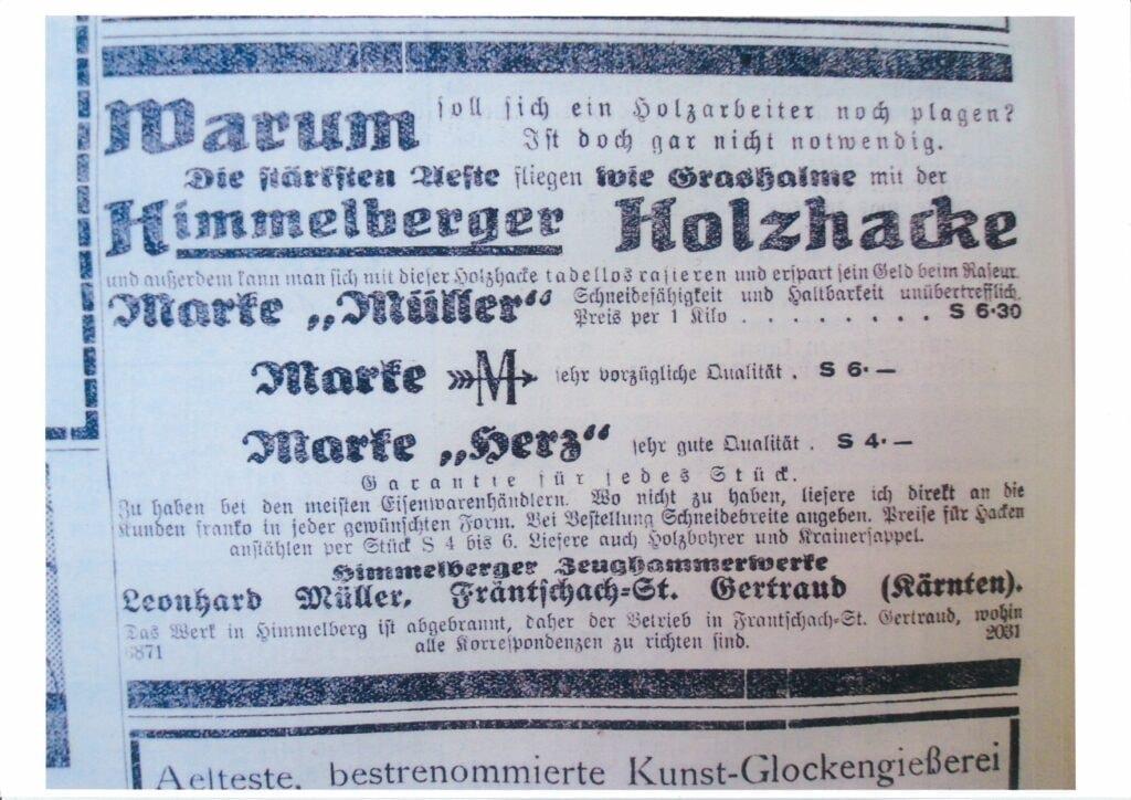 Reklame aus den 20er Jahren